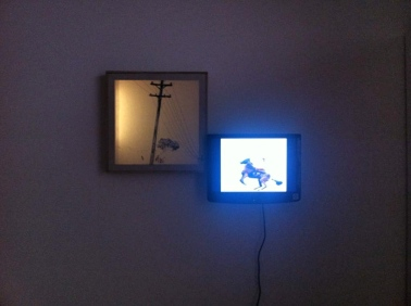 Still (2014) backlit embroided light box, animated oil painting